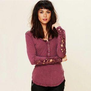 Free People Toosaloosa Crochet Sleeve Henley